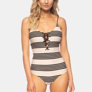 Tavik Monahan One Piece Knit Stripe Swimsuit LG